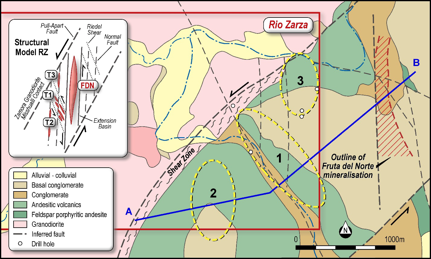 Figure 2 – Rio Zarza and Fruta del Norte Surface Geology Map